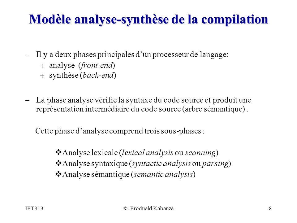 IFT313© Froduald Kabanza8 Modèle analyse-synthèse de la compilation Il y a deux phases principales dun processeur de langage: analyse (front-end) synt