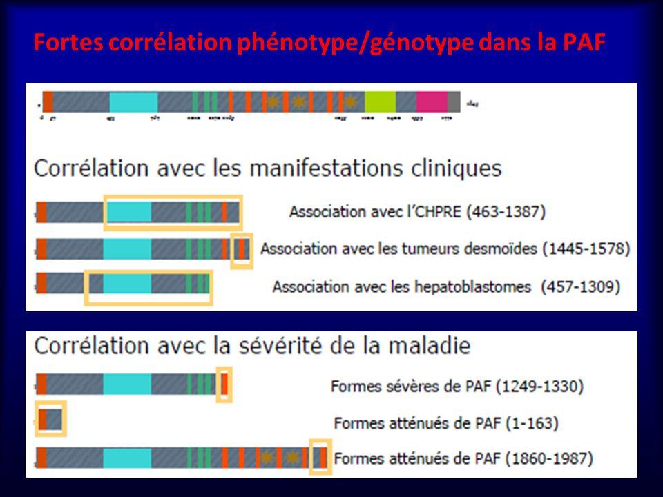 Fortes corrélation phénotype/génotype dans la PAF 11