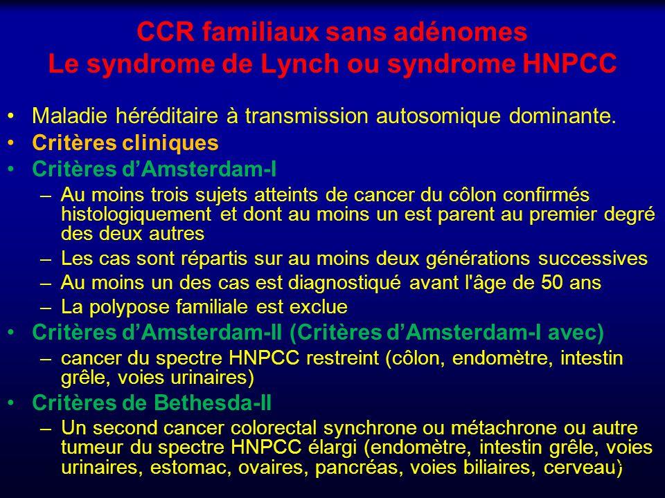 CCR familiaux sans adénomes Le syndrome de Lynch ou syndrome HNPCC Maladie héréditaire à transmission autosomique dominante. Critères cliniques Critèr