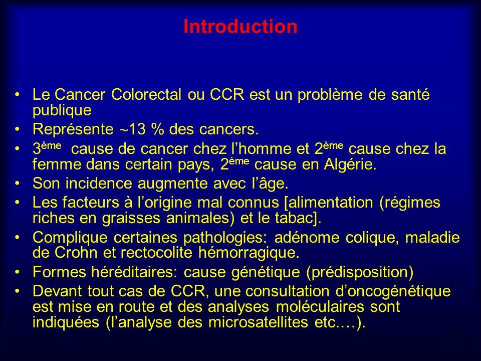 Introduction Le Cancer Colorectal ou CCR est un problème de santé publique Représente ~ 13 % des cancers. 3 ème cause de cancer chez lhomme et 2 ème c