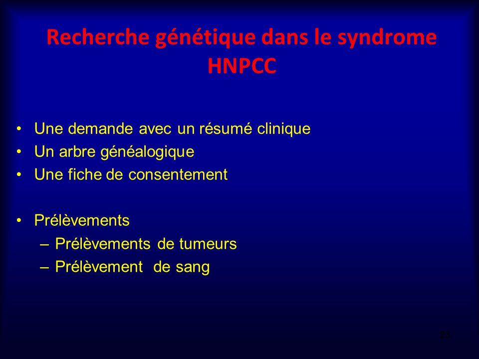 Recherche génétique dans le syndrome HNPCC Une demande avec un résumé clinique Un arbre généalogique Une fiche de consentement Prélèvements –Prélèveme