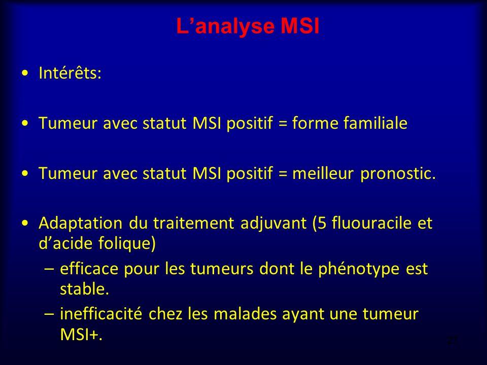 Lanalyse MSI Intérêts: Tumeur avec statut MSI positif = forme familiale Tumeur avec statut MSI positif = meilleur pronostic. Adaptation du traitement