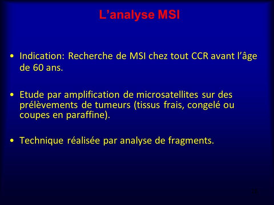 Lanalyse MSI Indication: Recherche de MSI chez tout CCR avant lâge de 60 ans. Etude par amplification de microsatellites sur des prélèvements de tumeu