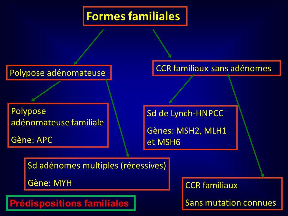 Formes familiales Polypose adénomateuse CCR familiaux sans adénomes Polypose adénomateuse familiale Gène: APC Sd adénomes multiples (récessives) Gène: