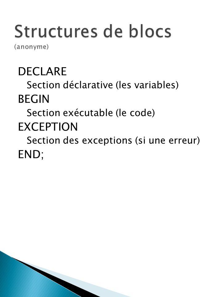 DECLARE Section déclarative (les variables) BEGIN Section exécutable (le code) EXCEPTION Section des exceptions (si une erreur) END;