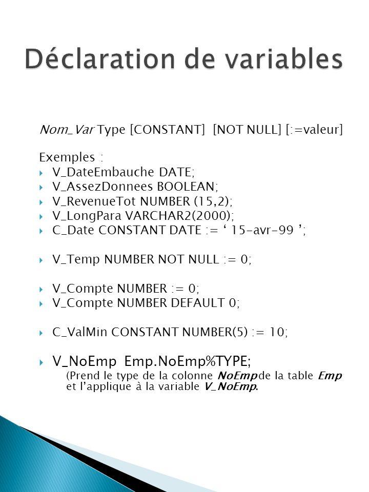 Nom_Var Type [CONSTANT] [NOT NULL] [:=valeur] Exemples : V_DateEmbauche DATE; V_AssezDonnees BOOLEAN; V_RevenueTot NUMBER (15,2); V_LongPara VARCHAR2(2000); C_Date CONSTANT DATE := 15-avr-99 ; V_Temp NUMBER NOT NULL := 0; V_Compte NUMBER := 0; V_Compte NUMBER DEFAULT 0; C_ValMin CONSTANT NUMBER(5) := 10; V_NoEmp Emp.NoEmp%TYPE; (Prend le type de la colonne NoEmp de la table Emp et lapplique à la variable V_NoEmp.