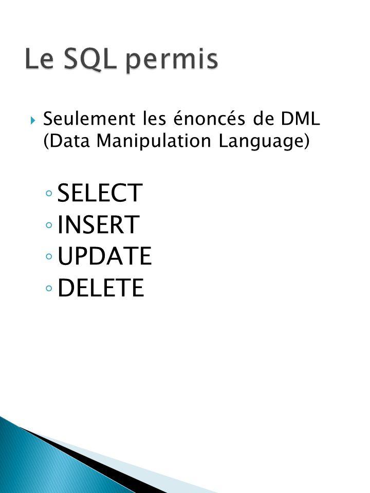 Seulement les énoncés de DML (Data Manipulation Language) SELECT INSERT UPDATE DELETE