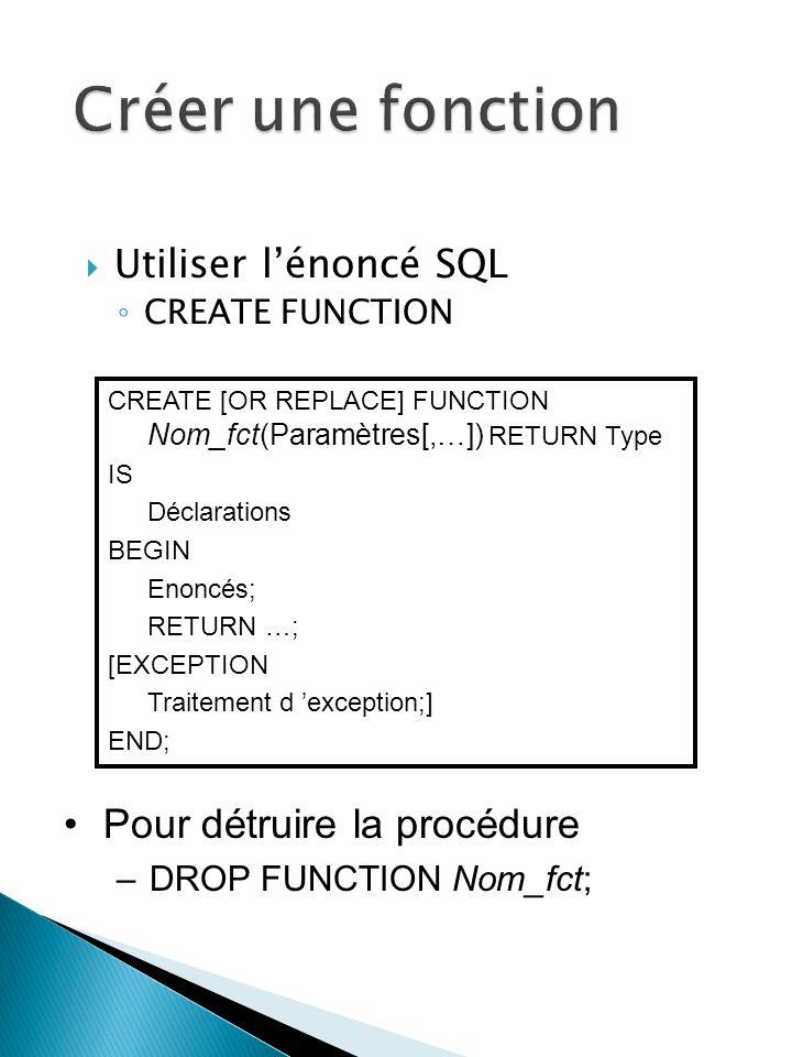 Utiliser lénoncé SQL CREATE FUNCTION CREATE [OR REPLACE] FUNCTION Nom_fct(Paramètres[,…]) RETURN Type IS Déclarations BEGIN Enoncés; RETURN …; [EXCEPTION Traitement d exception;] END; Pour détruire la procédure –DROP FUNCTION Nom_fct;
