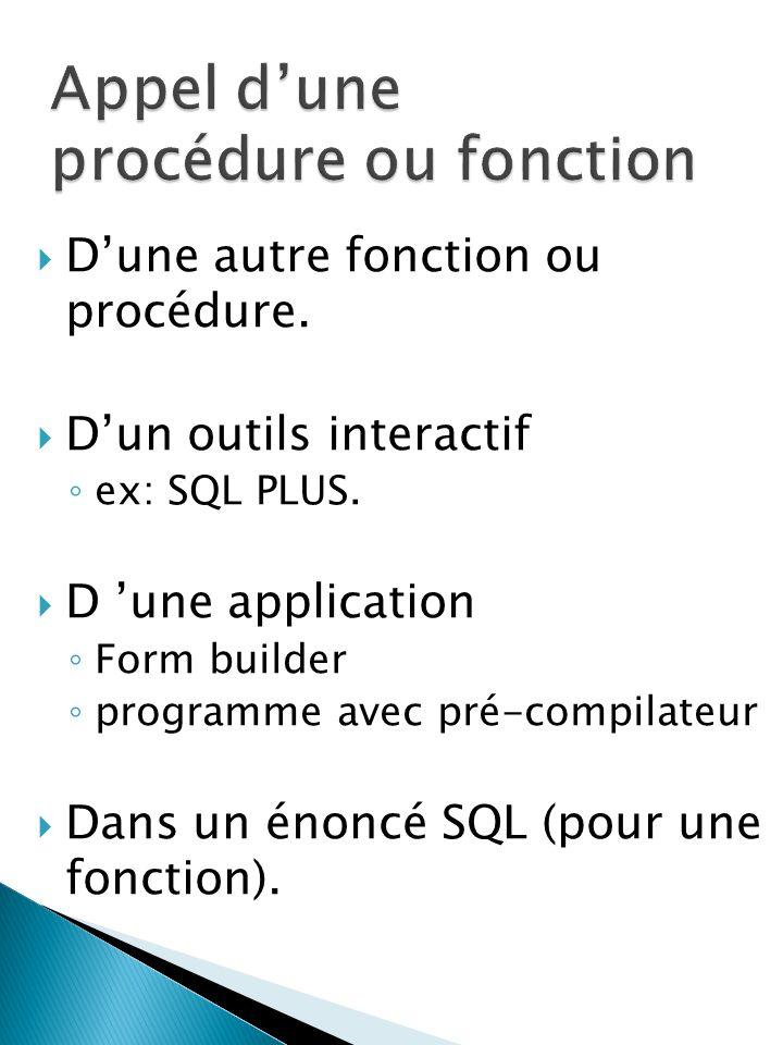 Dune autre fonction ou procédure. Dun outils interactif ex: SQL PLUS.