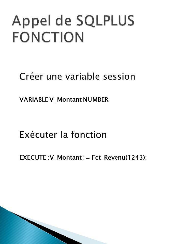 Créer une variable session VARIABLE V_Montant NUMBER Exécuter la fonction EXECUTE :V_Montant := Fct_Revenu(1243);