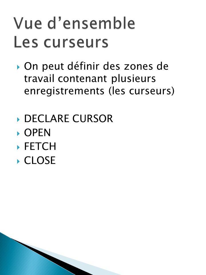 On peut définir des zones de travail contenant plusieurs enregistrements (les curseurs) DECLARE CURSOR OPEN FETCH CLOSE