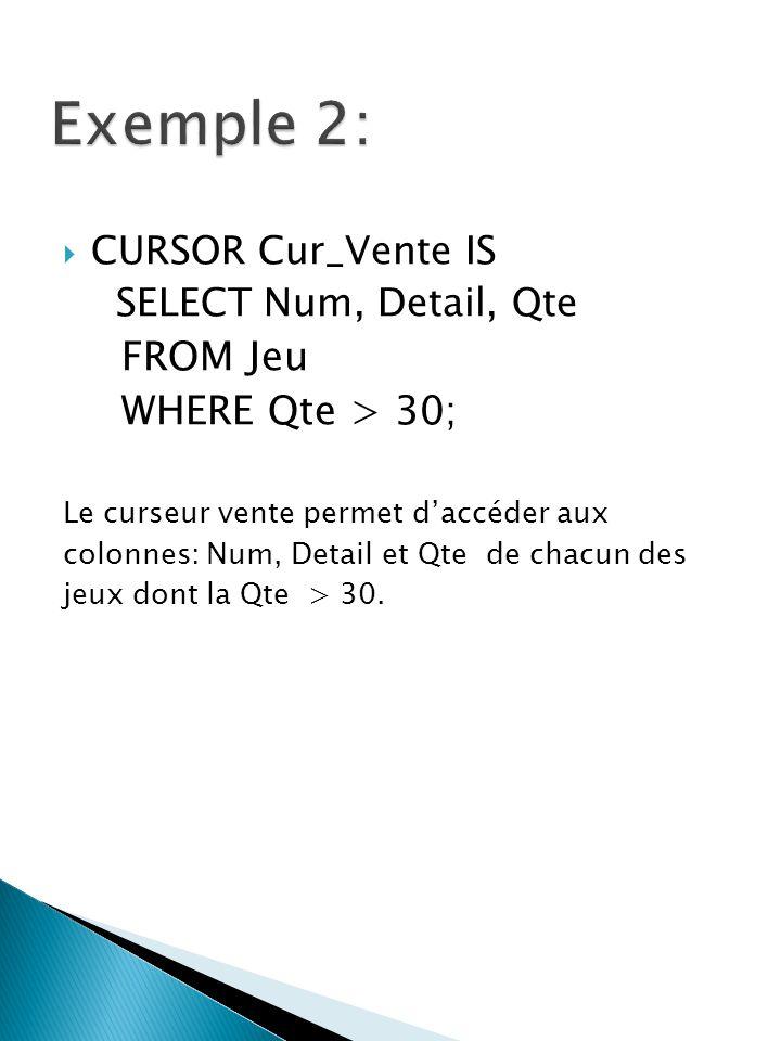 CURSOR Cur_Vente IS SELECT Num, Detail, Qte FROM Jeu WHERE Qte > 30; Le curseur vente permet daccéder aux colonnes: Num, Detail et Qte de chacun des jeux dont la Qte > 30.