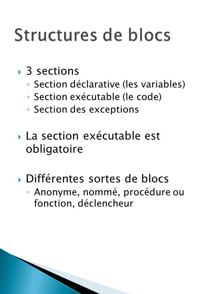 3 sections Section déclarative (les variables) Section exécutable (le code) Section des exceptions La section exécutable est obligatoire Différentes sortes de blocs Anonyme, nommé, procédure ou fonction, déclencheur