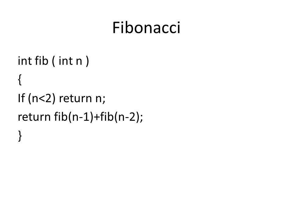 Fibonacci int fib ( int n ) { If (n<2) return n; return fib(n-1)+fib(n-2); }