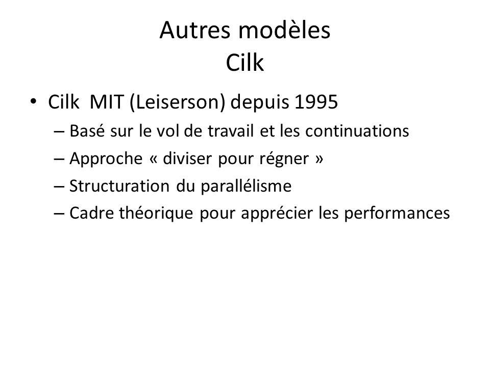Autres modèles Cilk Cilk MIT (Leiserson) depuis 1995 – Basé sur le vol de travail et les continuations – Approche « diviser pour régner » – Structuration du parallélisme – Cadre théorique pour apprécier les performances