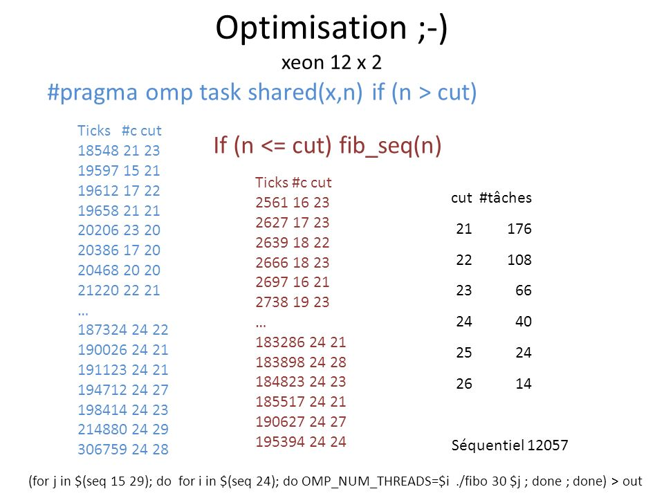 Traversée de liste #pragma omp parallel #pragma omp single private(e) { for ( e = l->first; e ; e = e->next ) #pragma omp task process(e); }