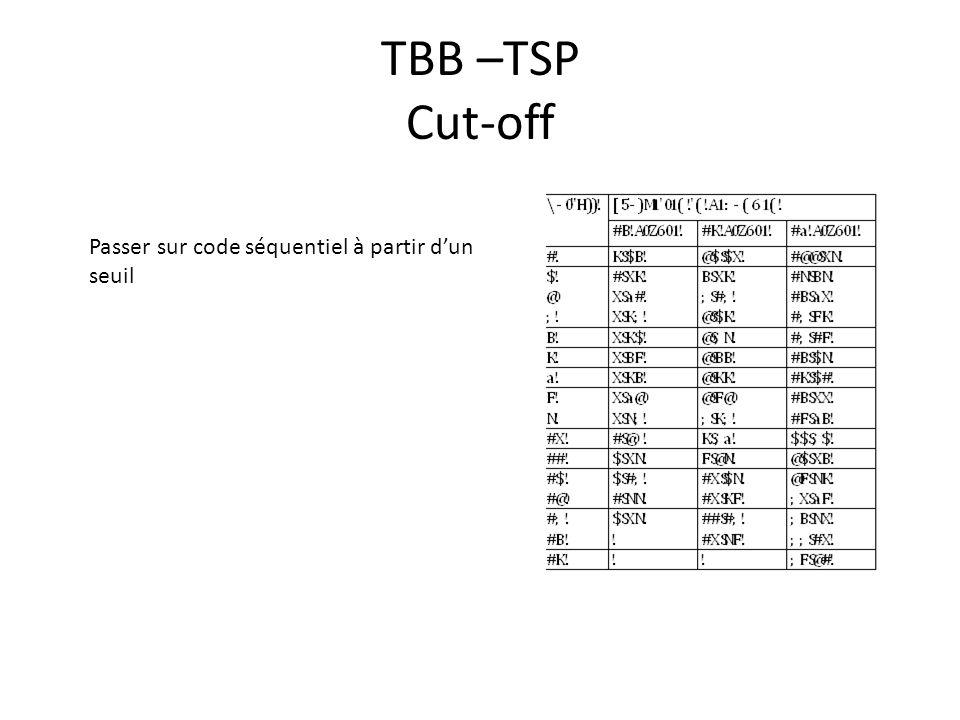 TBB –TSP Cut-off Passer sur code séquentiel à partir dun seuil