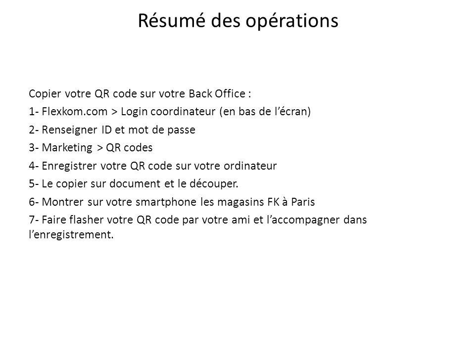 Résumé des opérations Copier votre QR code sur votre Back Office : 1- Flexkom.com > Login coordinateur (en bas de lécran) 2- Renseigner ID et mot de p