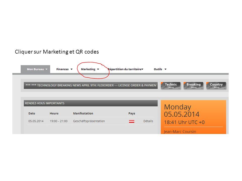 Cliquer sur Marketing et QR codes