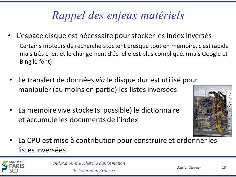 Indexation et Recherche d'Information Indexation Avancée Xavier Tannier Rappel des enjeux matériels Lespace disque est nécessaire pour stocker les ind