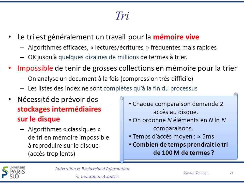 Indexation et Recherche d'Information Indexation Avancée Xavier Tannier Tri Le tri est généralement un travail pour la mémoire vive – Algorithmes effi