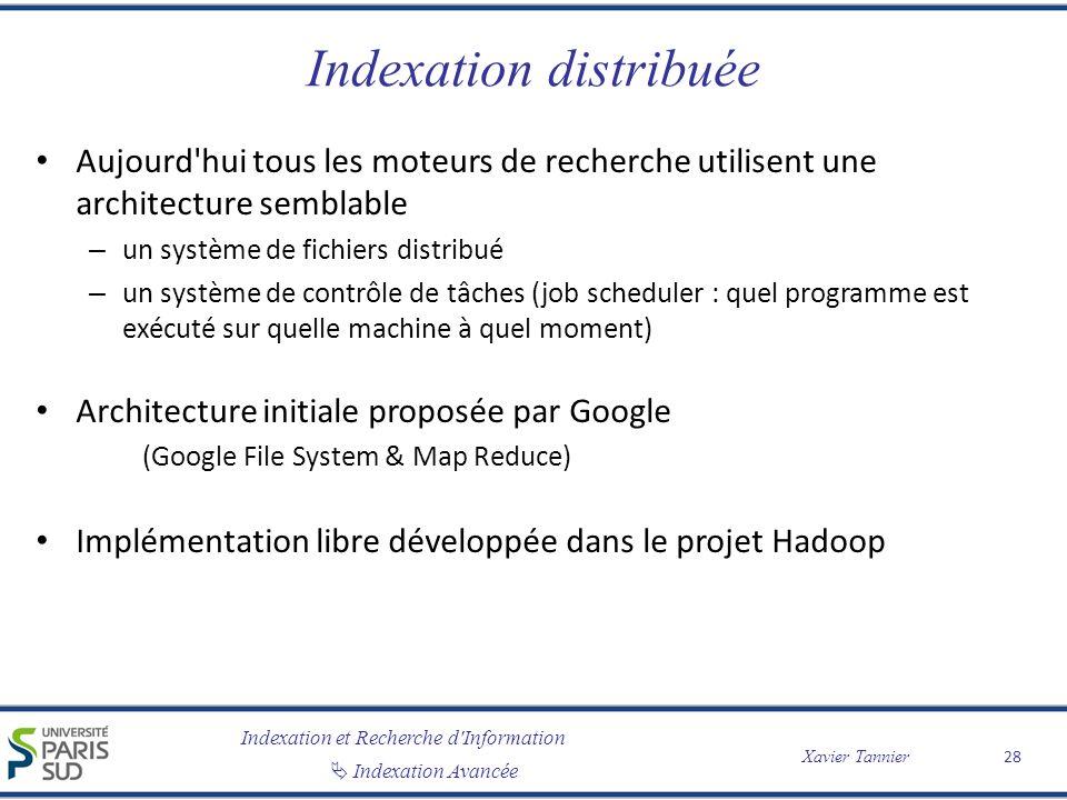 Indexation et Recherche d'Information Indexation Avancée Xavier Tannier Indexation distribuée Aujourd'hui tous les moteurs de recherche utilisent une