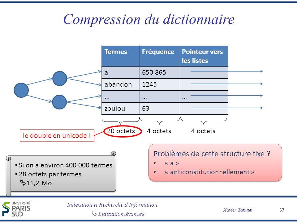 Indexation et Recherche d'Information Indexation Avancée Xavier Tannier Compression du dictionnaire 37 TermesFréquencePointeur vers les listes a650 86