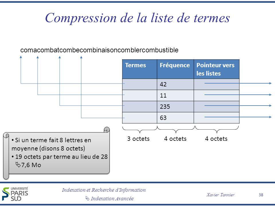 Indexation et Recherche d'Information Indexation Avancée Xavier Tannier Compression de la liste de termes 38 TermesFréquencePointeur vers les listes 4