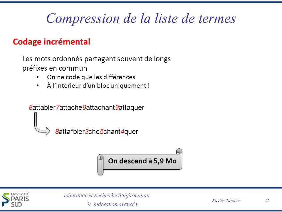 Indexation et Recherche d'Information Indexation Avancée Xavier Tannier Compression de la liste de termes 41 8attabler7attache9attachant9attaquer On d