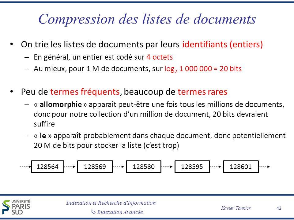 Indexation et Recherche d'Information Indexation Avancée Xavier Tannier Compression des listes de documents On trie les listes de documents par leurs
