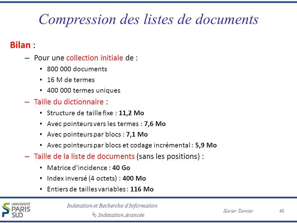 Indexation et Recherche d'Information Indexation Avancée Xavier Tannier Compression des listes de documents Bilan : – Pour une collection initiale de