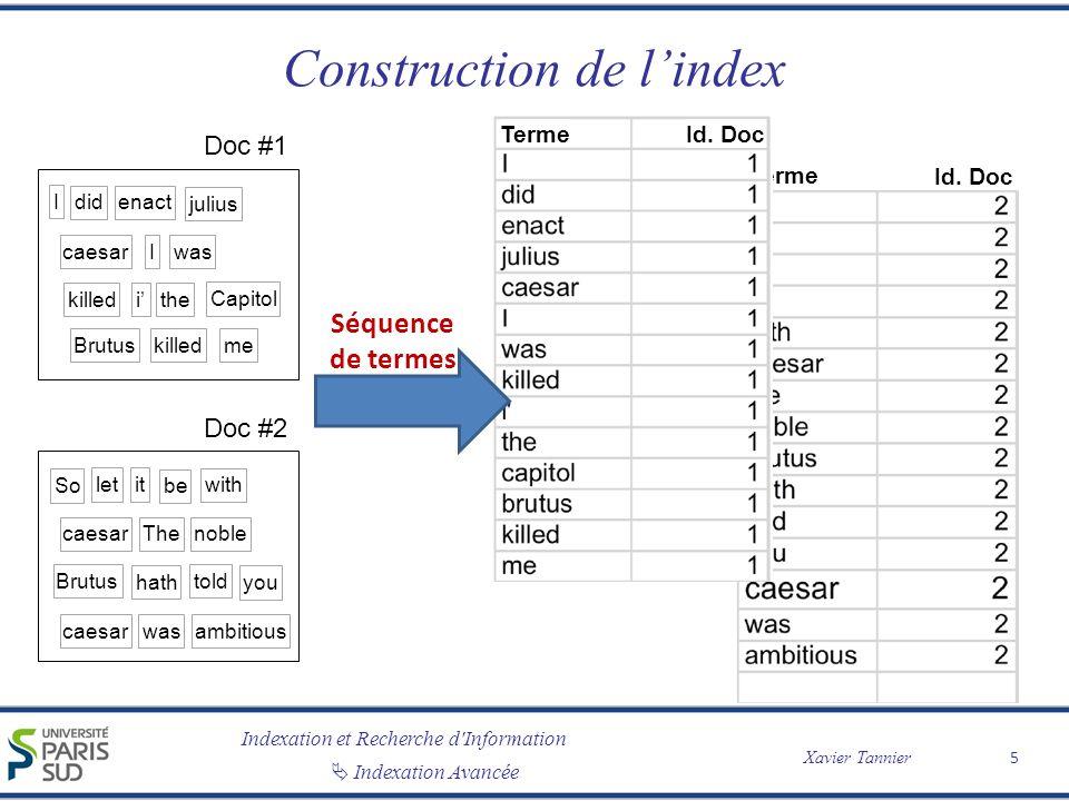 Indexation et Recherche d'Information Xavier Tannier Indexation Avancée Construction de lindex 5 Doc #1 I didenact julius caesarIwas killed i the Capi
