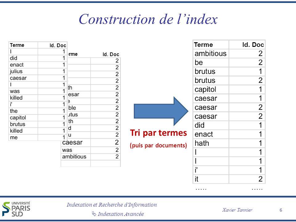 Indexation et Recherche d'Information Xavier Tannier Indexation Avancée Construction de lindex 6 Tri par termes (puis par documents) Terme Id. Doc …..
