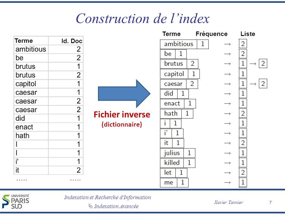 Indexation et Recherche d'Information Xavier Tannier Indexation Avancée Construction de lindex 7 ….. Terme Id. Doc TermeFréquence Liste Fichier invers