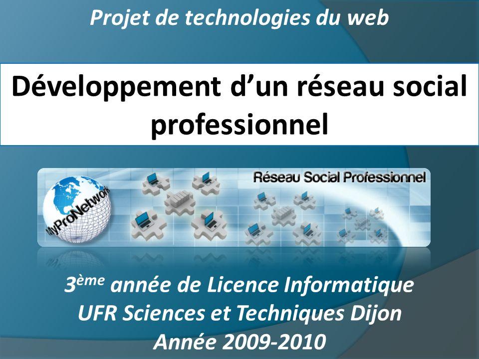 Projet de technologies du web Développement dun réseau social professionnel 3 ème année de Licence Informatique UFR Sciences et Techniques Dijon Année 2009-2010
