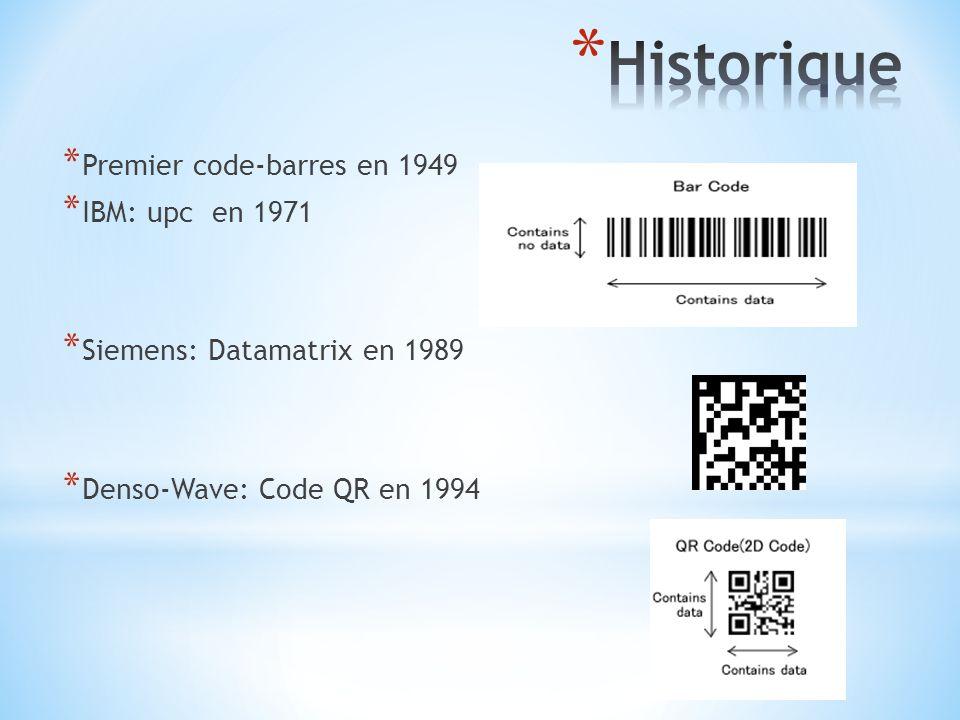* Premier code-barres en 1949 * IBM: upc en 1971 * Siemens: Datamatrix en 1989 * Denso-Wave: Code QR en 1994