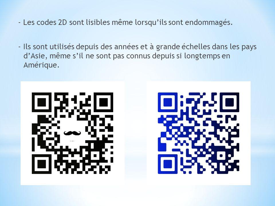 - Les codes 2D sont lisibles même lorsquils sont endommagés. - Ils sont utilisés depuis des années et à grande échelles dans les pays dAsie, même sil