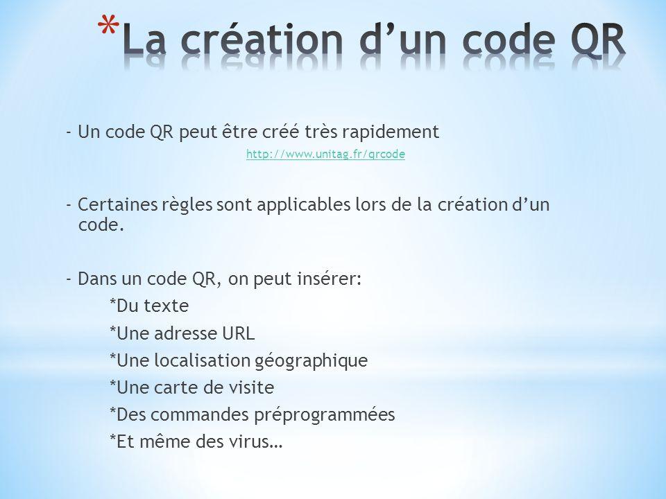 - Un code QR peut être créé très rapidement http://www.unitag.fr/qrcode - Certaines règles sont applicables lors de la création dun code. - Dans un co