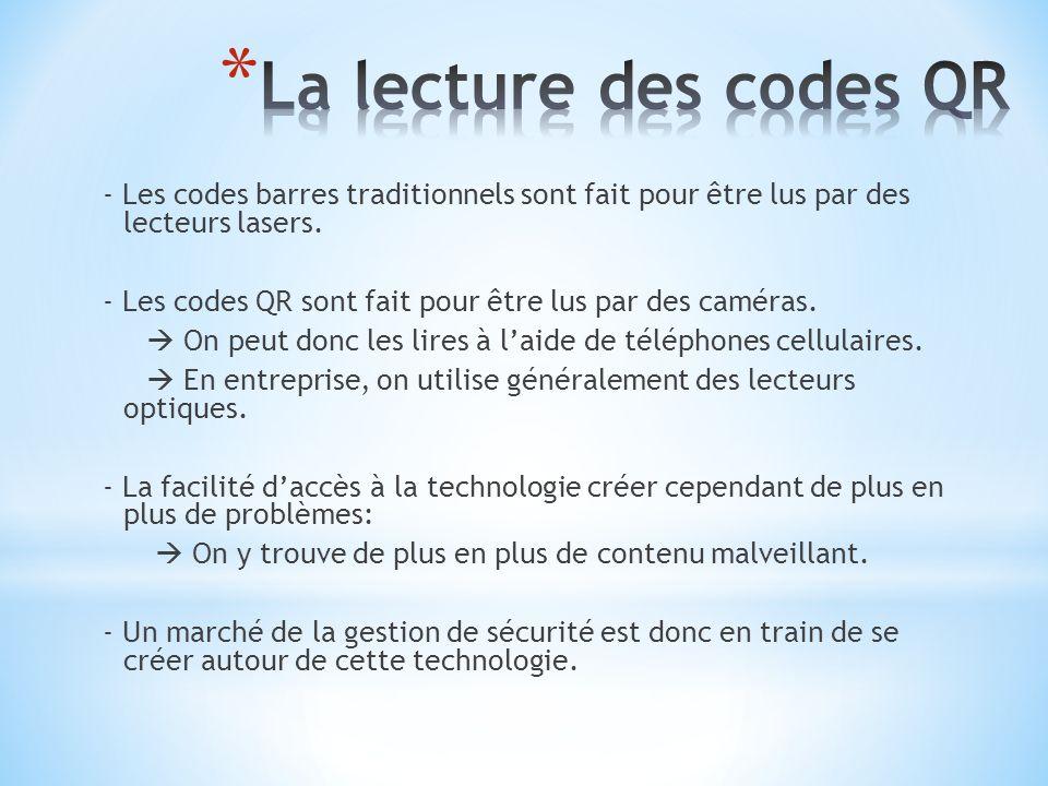 - Les codes barres traditionnels sont fait pour être lus par des lecteurs lasers. - Les codes QR sont fait pour être lus par des caméras. On peut donc