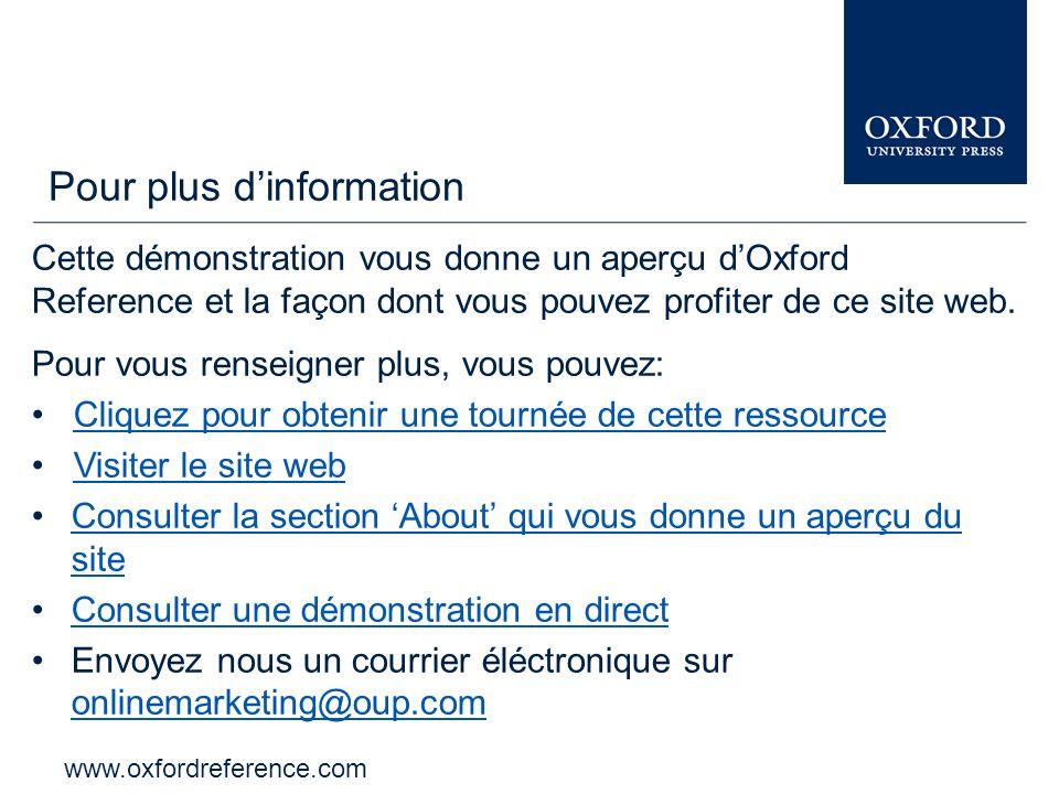 www.oxfordreference.com La barre dOxford Index vous permet délargir et dapprofondir votre recherche à travers les autres ressources dOxford University Press.