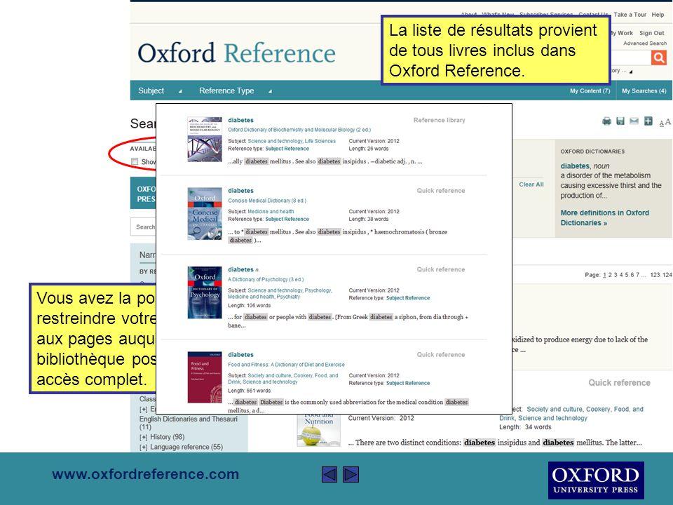 www.oxfordreference.com La case, en haut à droite de la page, vous permet de lancer votre recherche à travers le site web Oxford Reference.
