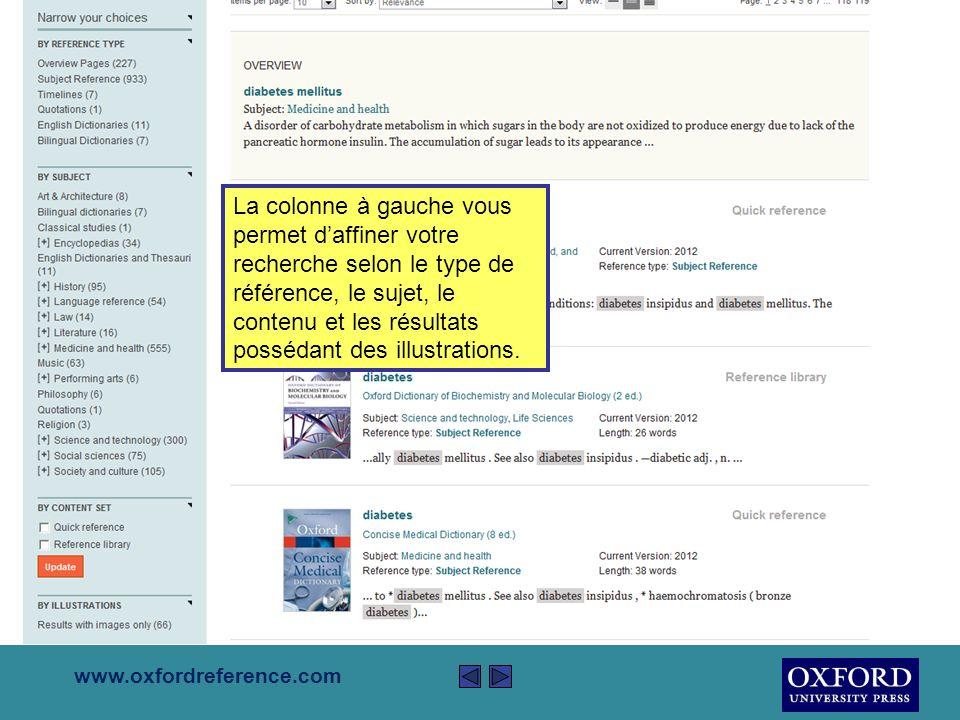 www.oxfordreference.com La liste de résultats provient de tous livres inclus dans Oxford Reference.