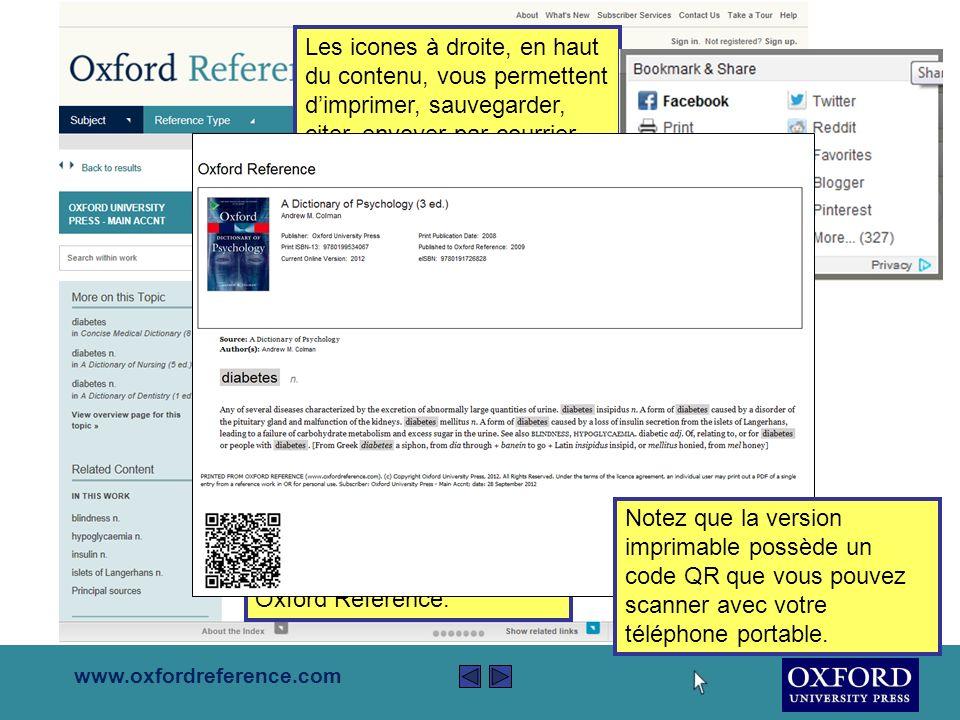 www.oxfordreference.com La colonne à gauche vous permet daffiner votre recherche selon le type de référence, le sujet, le contenu et les résultats possédant des illustrations.