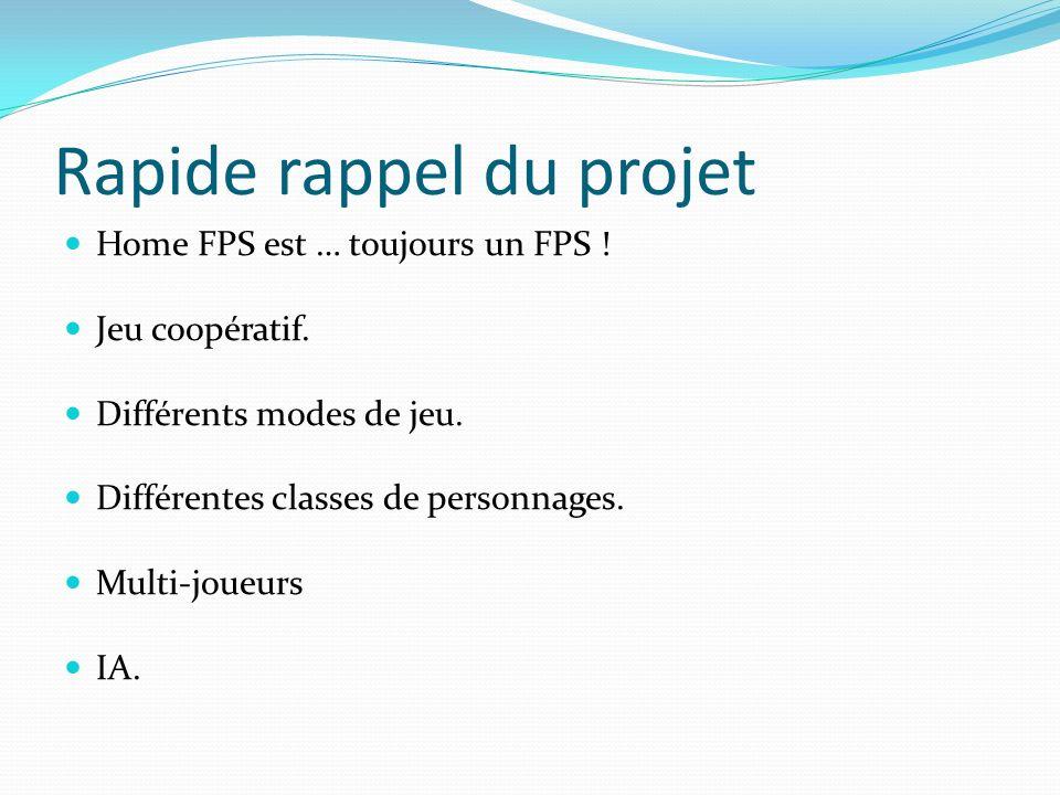 Rapide rappel du projet Home FPS est … toujours un FPS ! Jeu coopératif. Différents modes de jeu. Différentes classes de personnages. Multi-joueurs IA