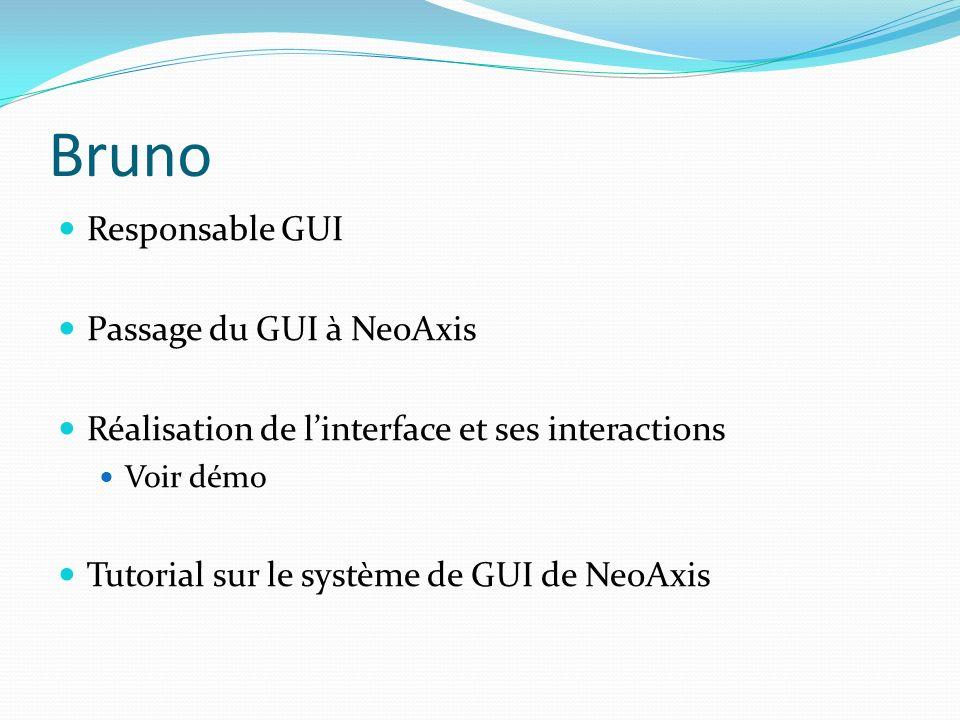 Bruno Responsable GUI Passage du GUI à NeoAxis Réalisation de linterface et ses interactions Voir démo Tutorial sur le système de GUI de NeoAxis