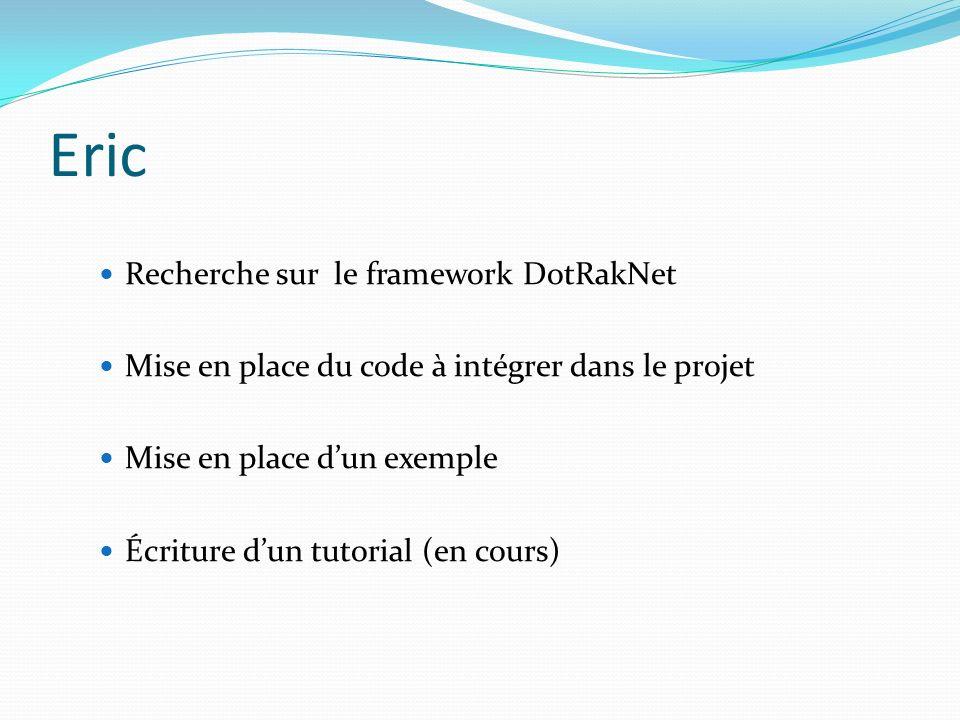 Eric Recherche sur le framework DotRakNet Mise en place du code à intégrer dans le projet Mise en place dun exemple Écriture dun tutorial (en cours)