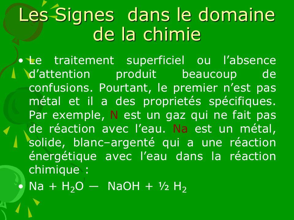 Les Signes dans le domaine de la chimie Le traitement superficiel ou labsence dattention produit beaucoup de confusions. Pourtant, le premier nest pas