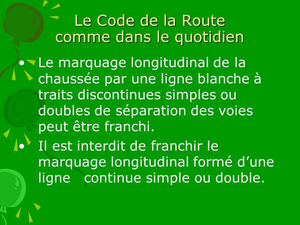 Le Code de la Route comme dans le quotidien Le marquage longitudinal de la chaussée par une ligne blanche à traits discontinues simples ou doubles de