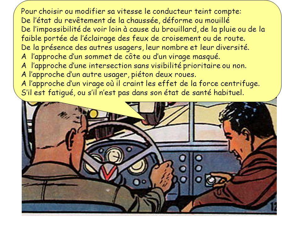 Lorsque la vitesse dun véhicule augmente: * Le conducteur dispose de moins de temps pour observer, prévoir et réagir: le risque augmente. * La distanc