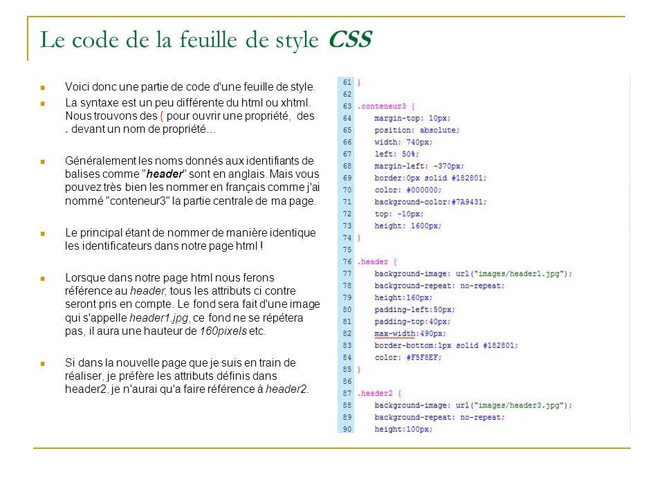 Côté code html de la page Voici votre bonne vieille page codée en html.